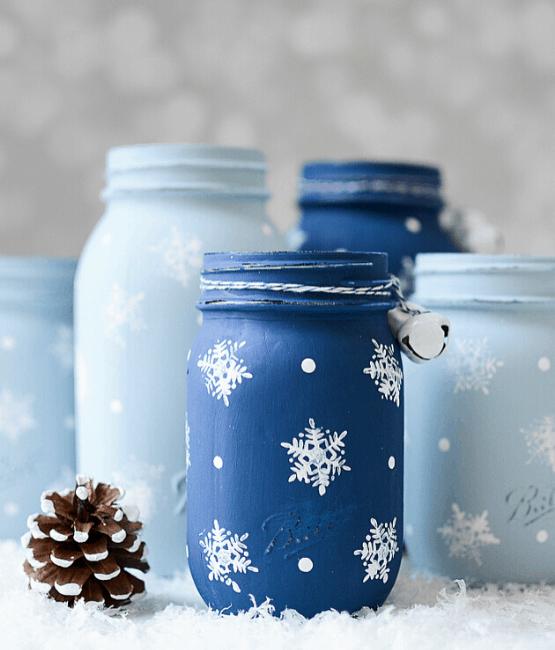 snowflake mason jars