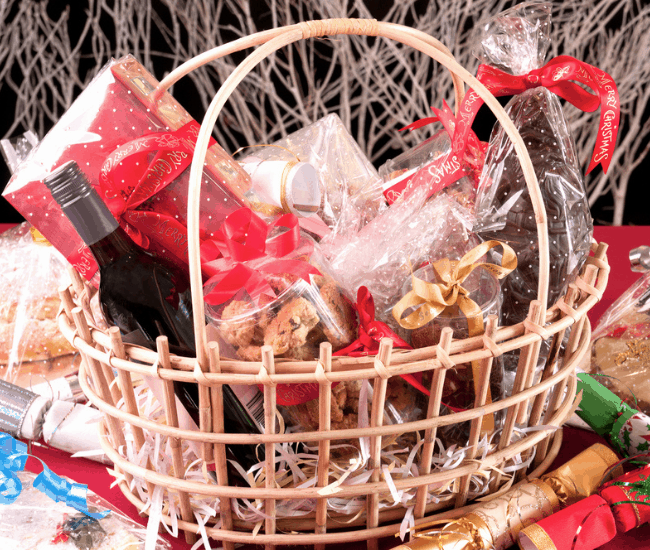 Christmas wine gift baskets